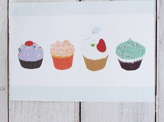 Lovely Colorful Cupcakes Food Letter Set Letterset