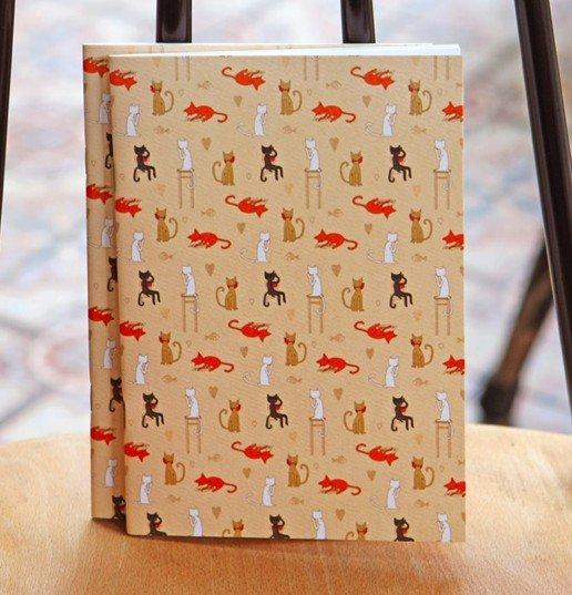 Fun Orange Black Brown White Cats Animal Notebook Journal