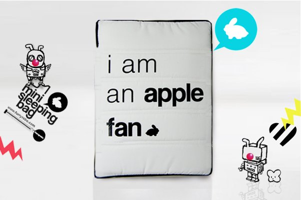 "Furryrobo 'I AM AN APPLE FAN' LIMITED EDITIONS AIR BAG (WHITE) (11""-13"")"