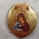 Hand Painted on wood Romania Orthodox icon Virgin Mary & Jesus ( 21 x 18 cm )