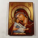 Hand Painted on wood Romania Orthodox icon Mother of God & Jesus ( 20 x 15 cm )