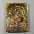 Hand Painted on wood Romania Orthodox icon Mother of God & Jesus ( 20 x 15 cm )