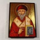 Hand Painted on wood Romania Orthodox icon Saint Spyridon / Sfântul Spiridon ( 20 x 15 cm )