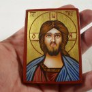 Small Hand Painted on wood Orthodox icon Jesus Christ ( 8 x 6 cm ) - Traditional From Romania