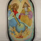 Hand Painted on wood Orthodox icon Holy Trinity  ( 54 x 29 cm ) - Traditional From Romania