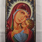 Hand Painted on wood Orthodox icon Virgin Mary & Jesus ( 44 x 27 cm ) - Traditional From Romania