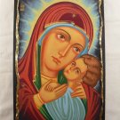 Hand Painted on wood Orthodox icon Holy Mother Mary & Jesus (44 x 27 cm) - Traditional From Romania