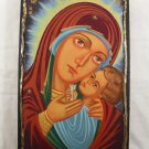 Hand Painted on wood Orthodox icon Virgin Mary & Jesus (44 x 27 cm) - Traditional From Romania