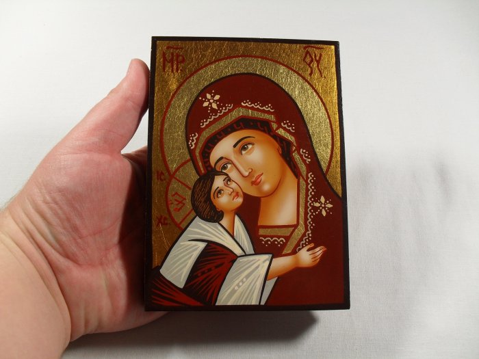 Hand Painted on wood Orthodox icon Virgin Mary & Jesus ( 14 x 10 cm ) traditional-from-romania.ro