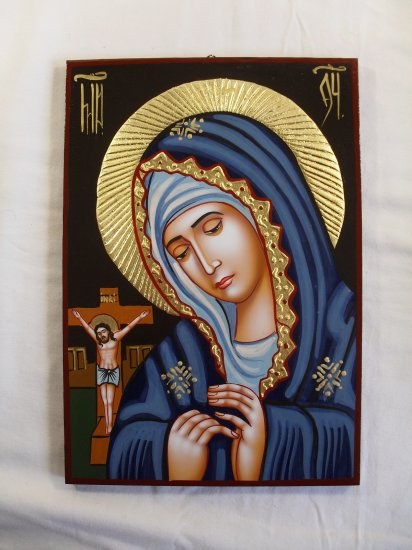 Hand Painted on wood icon Virgin Mary & Jesus on cross ( 29 x 21 cm )