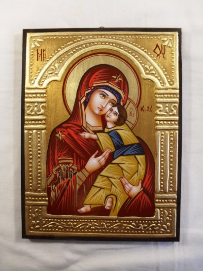 Hand Painted on wood Orthodox icon Virgin Mary & Jesus ( 24 x 18 cm ) - Traditional From Romania