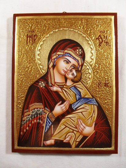 Hand Painted on wood Orthodox icon Virgin Mary & Jesus ( 20 x 15 cm ) - Traditional From Romania