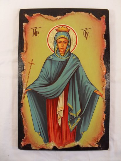 Hand Painted on wood Orthodox Byzantine icon Virgin Mary ( 39 x 25 cm ) Traditional From Romania