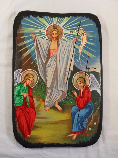 Painted on wood Orthodox Icon The Resurrection of Jesus ( 40 x 26 cm ) traditional-from-romania.ro