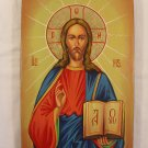 Painted on wood Orthodox icon Jesus Christ Pantocrator ( 31 x 21 cm ) - Traditional From Romania