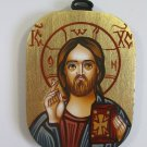 Small Painted on wood Orthodox Icon JESUS CHRIST PANTOKRATOR ( 8 x 6 cm ) - Traditional From Romania
