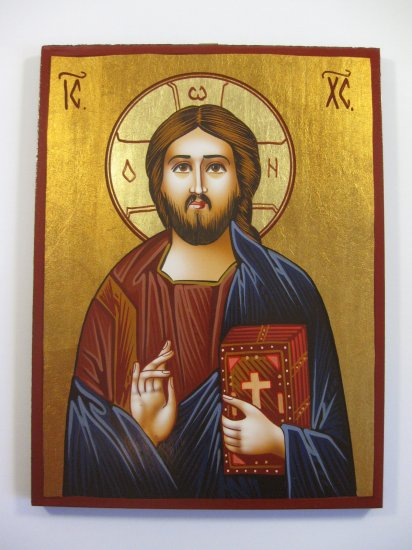 Painted on wood Orthodox Icon Jesus Christ Pantocrator( 24 x 18 cm ) www.traditional-from-romania.ro