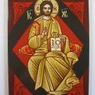 Painted on wood Orthodox Icon Jesus Enthroned in Glory( 24 x 18 cm ) www.traditional-from-romania.ro