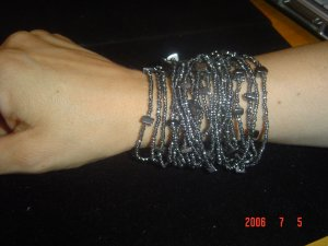 Black Diamond Glass Bead & Semi Precious Hematite Bracelet