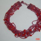 Red Coral and Lustered Seed bead Necklace