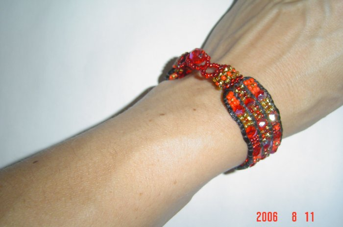 Woven Bead and Crystal Bracelet