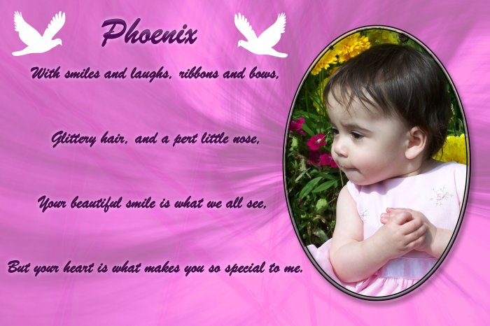 Adorable Pink Dove Baby picture with Poem