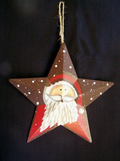 Country Christmas Metal Santa Star Ornament Tin Decoration 1 Cent USA Shipping