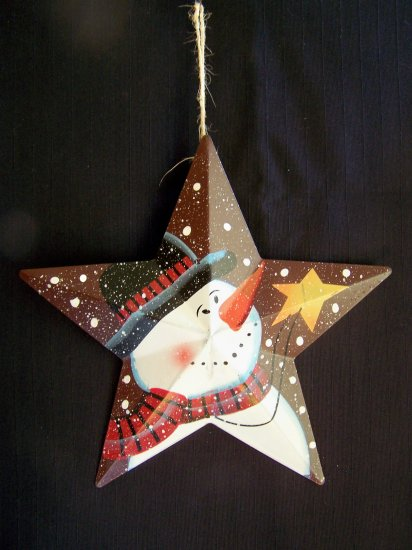 Primitive Christmas Star Snowman Tree ORnament Country Decoration 1 Cent USA Ship
