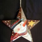 Primitive Christmas Star Snowman Tree ORnament Country Decoration 1 Cent USA Ship