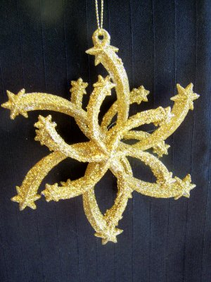 2 Gold Glitter Retro Star Christmas Tree Ornament 1 Penny USA Shipping Ornaments