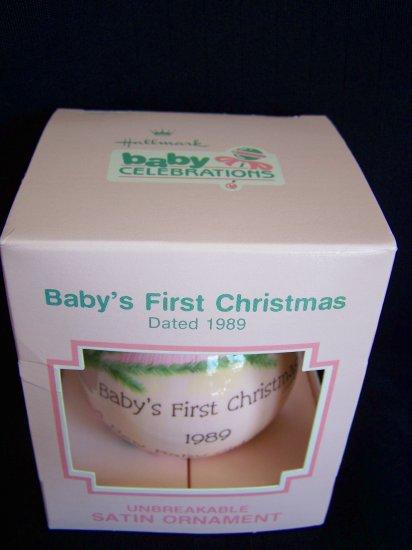 New Hallmark 1989 Girls Babys First Christmas Pink Satin Ball Ornament Vintage 80's Baby Keepsake