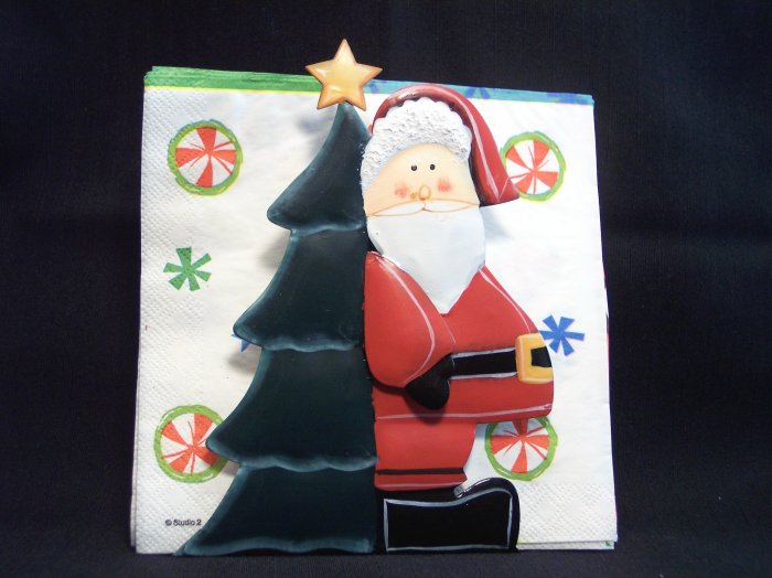 3 D Primitive Metal Santa Napkin Towel Holder Christmas Tree 1 Cent USA Shipping