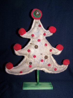 Primitive Country Christmas Tree Shelf Sitter Make Do Grungy Rusty Jingle Bells