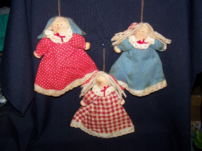3 Primitive Country Angel Dolls Christmas Tree Fabric Ornaments Rustic Angels Doll