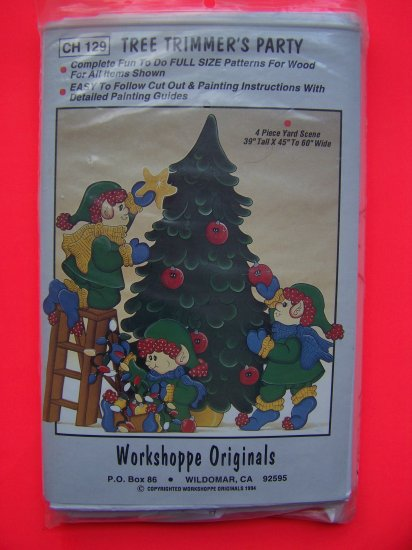 DIY Elf Christmas Tree Trimmers Party Yard Decoration Wood Pattern Ornaments
