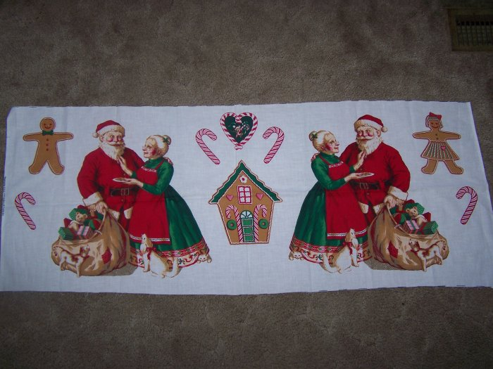 Hallmark Christmas Fabric Table Runner Santa Gingerbread House 1 Cent USA Shipping