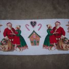 Hallmark Christmas Fabric Table Runner Santa Gingerbread House 1 Cent USA Shipping