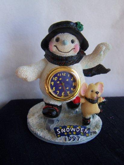 1997 Snowden Snowman Christmas Mini Clock Collectible 1 Penny USA Shipping