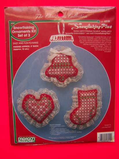 1 Cent USA S&H Vintage Christmas Snowflaking Ornamant Kit Needlework Sequin Teneriffe