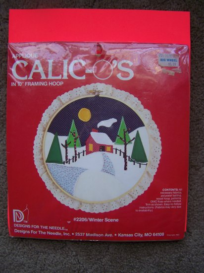New Vintage 1982 Paragon Christmas Applique Kit Calic-O's Winter Cabin Scene 1 Penny USA Shipping