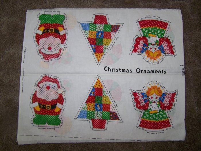 6 Vintage Easy Christmas Tree Ornaments Craft DIY Fabric Panel 1 Penny USA Ship