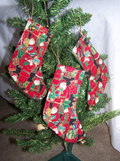 3 Victorian Old World Santa Clause Stocking Ornaments Set Original OOAK Penny Shipping