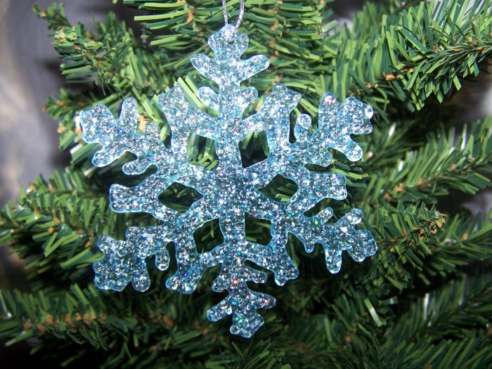 8 Shiny Blue Snowflake and Poinsettia Flower Christmas Tree Ornaments Sparkly Ornament Lot