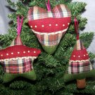 3 Primitive Country Christmas Tree Heart Star Ornaments Rustic Ornament Lot 1 Penny S&H