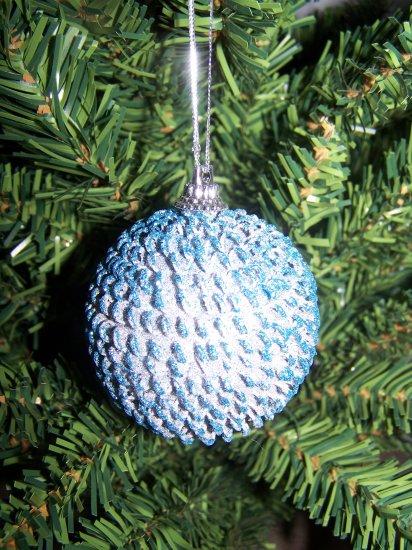 3 Lot Retro Sputnik Shiny Blue Christmas Tree Ball Ornaments 1 Cent USA Shipping