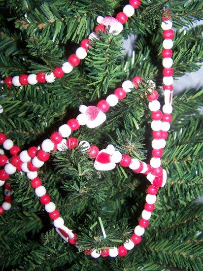 Country Christmas Garland Santa Stocking Hat Wood Bead lodge Decorations