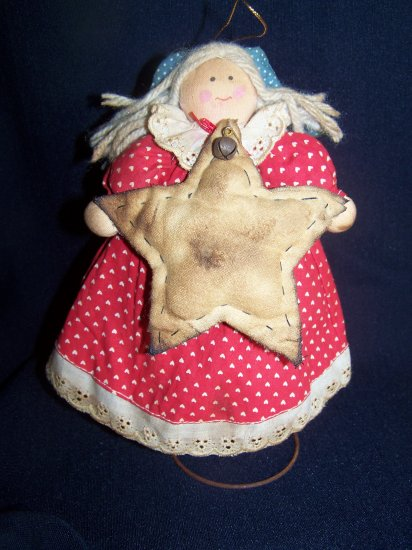 Country Angel Star Christmas Tree Topper Ornament Primitive Nodder Rusty Bell Spring
