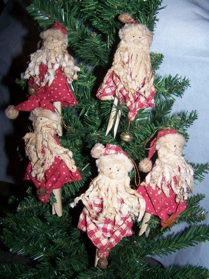 6 Primitive Christmas Tree Ornaments Country Santa Rustic Bell Rusty Prim Set