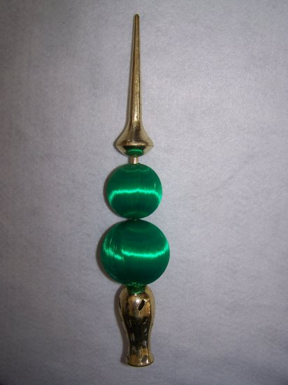 Vintage Ornament Christmas Tree Topper Retro Green Satin Ball
