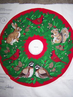 Wildlife Christmas Wreath Fabric Panel Country Rustic Cabin Lodge